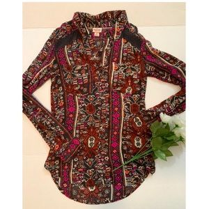 Burgundy and Fuscia tribal long sleeve button down